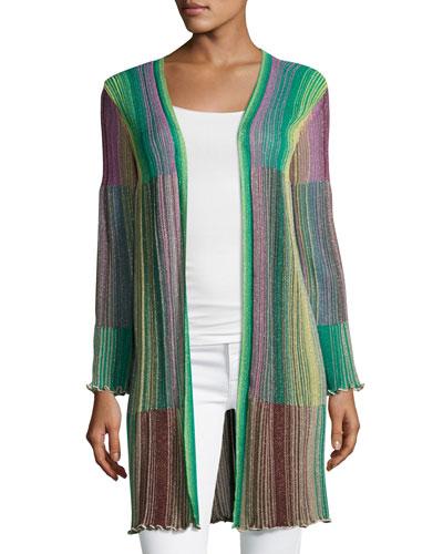 Long Striped Plissé Cardigan, Multi