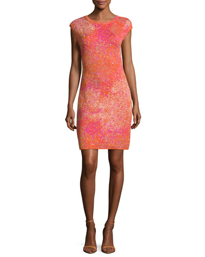 Cap-Sleeve Jacquard Sheath Dress, Multi