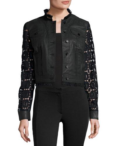 Meggie Lace-Back Denim Jacket, Black
