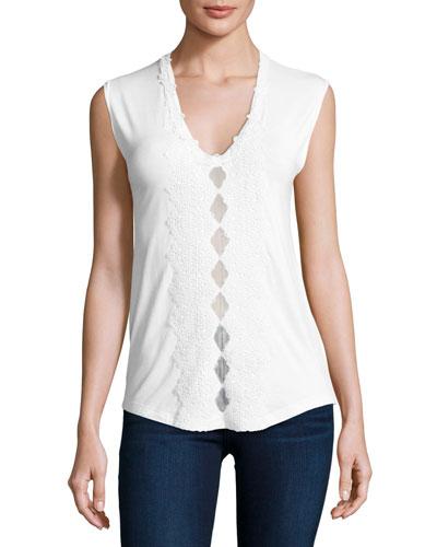 Harley Sleeveless Crochet-Trim Knit Top, White