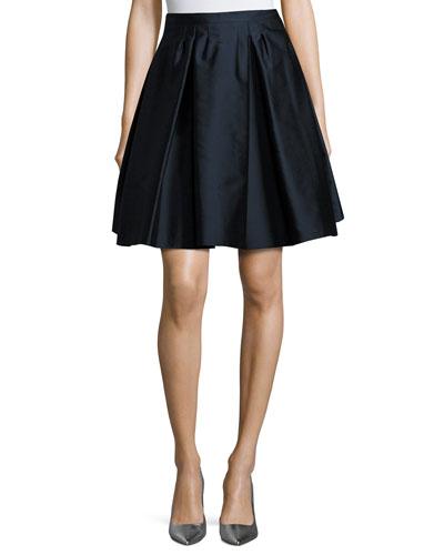 Pleated Twill Taffeta Skirt, Navy