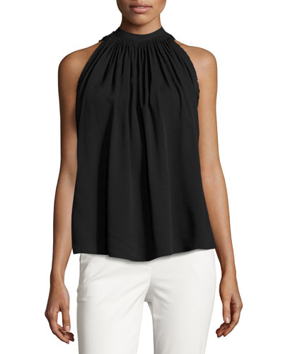 Sleeveless Shirred Crepe Tie-Back Top, Black