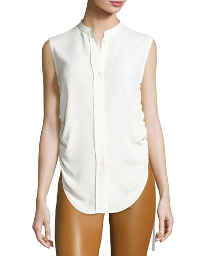 Sleeveless Crepe Drawstring Blouse, White