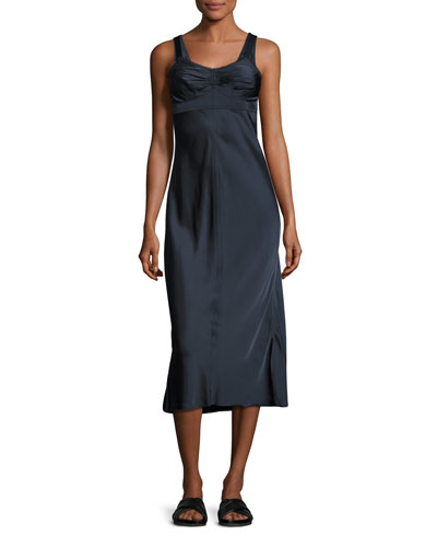 Sleeveless Ruched Satin Slip Dress, Navy