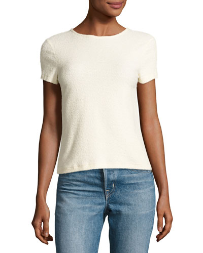 Short-Sleeve Stretch Terry Tee, Ivory