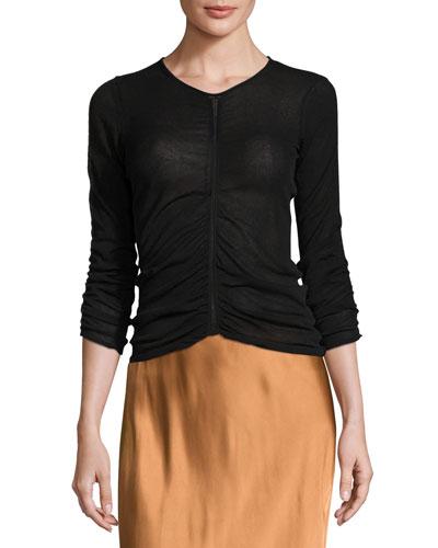 Semisheer Ruched Silk-Blend Top, Black