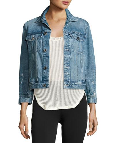 Distressed Cotton Denim Jacket, Light Blue
