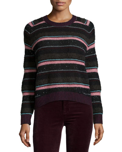 Ramona Striped Long-Sleeve Sweater, Multi Colors
