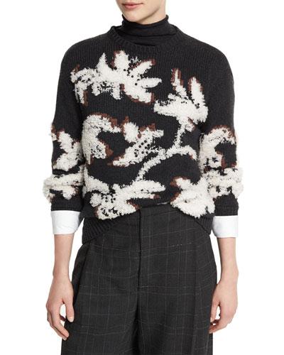 Crewneck Cashmere Intarsia Sweater