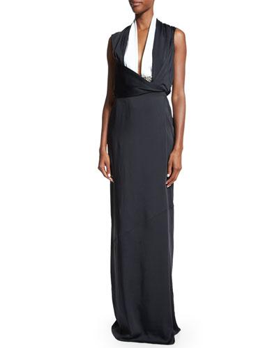 Sleeveless Two-Tone Gown, Black/White