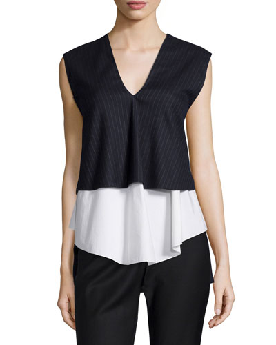 Tiered Pinstripe V-Neck Top, Midnight