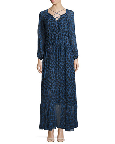 Python-Print Long-Sleeve Maxi Dress