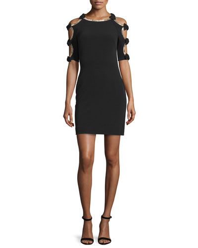 Bow-Sleeve Sheath Cocktail Dress
