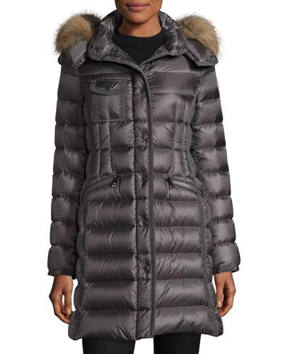 Hermifur Snap-Front Puffer Coat