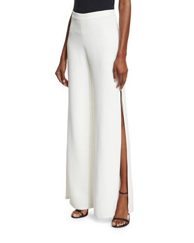 Brenda Wide-Leg Side-Slit Pants, Ivory