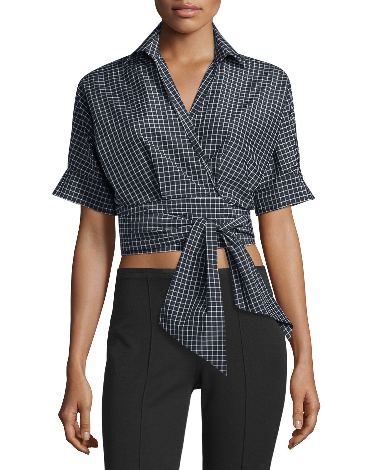 Short-Sleeve Windowpane Wrap Blouse, Black/White