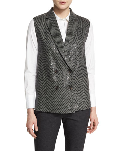Paillette-Embellished Chevron Vest, Anthracite