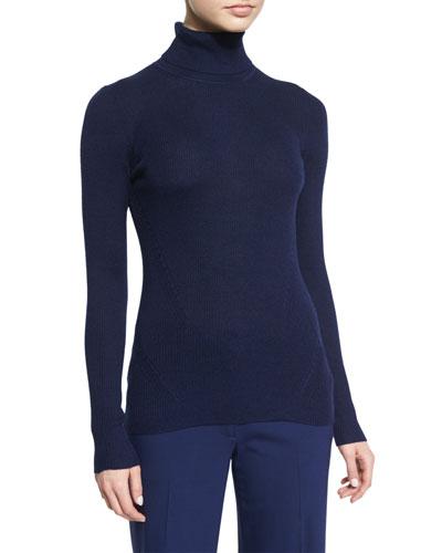 Sutton Wool-Silk Turtleneck Sweater, Midnight