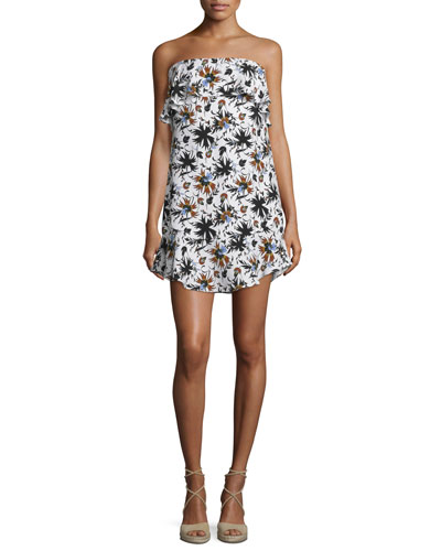 Romy Strapless Floral Silk Mini Dress