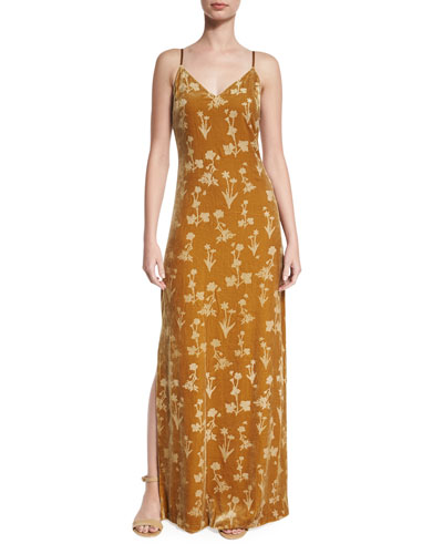 Valerie Floral Velour Maxi Dress, Brass Glitter