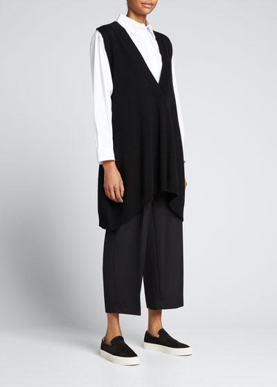 A-Line Sleeveless Deep-V Long Cashmere Sweater, Black