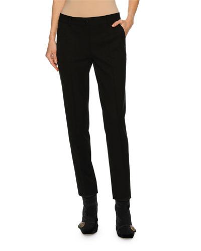 Classic Slim-Leg Ankle Pants, Black