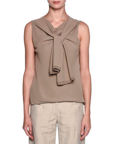Sleeveless Trompe l'Oeil Scarf Blouse, Taupe