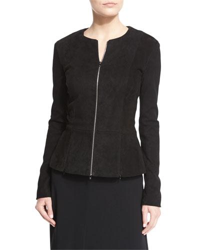 Anastra Zip-Front Suede Jacket