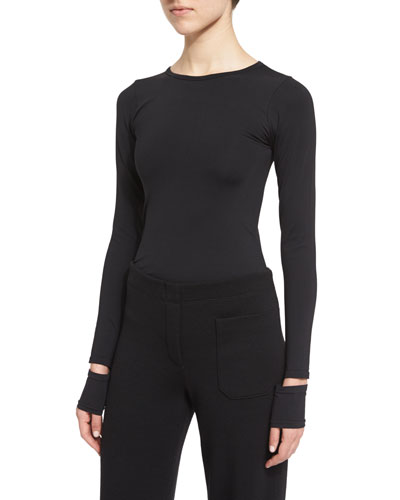 Fitted Slit-Cuff Stretch Jersey Tee, Black