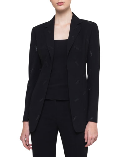 Wool-Bland Snap-Front Blazer