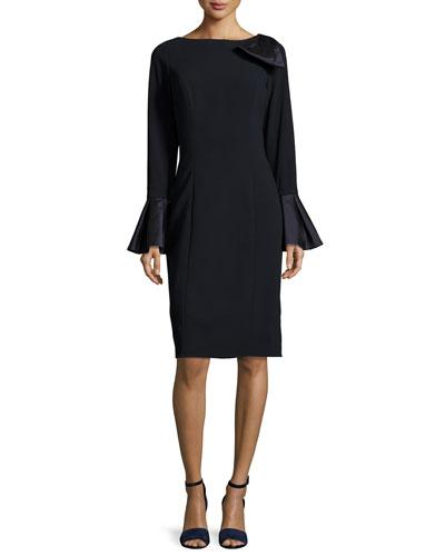 Bell-Sleeve Crepe Sheath Dress, Navy