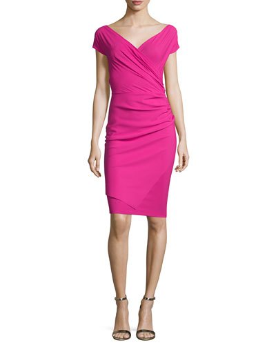 Calista Short-Sleeve Faux-Wrap Cocktail Dress, Azalea