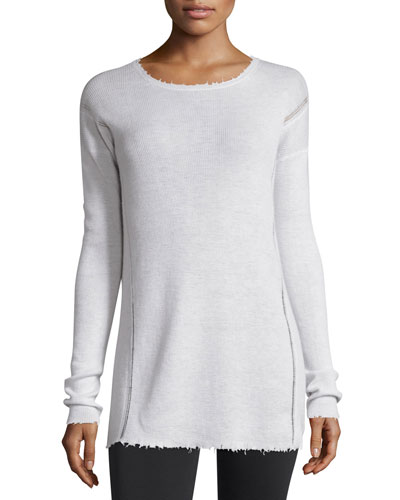 Long-Sleeve Ribbed Wool Sweater, Ivory