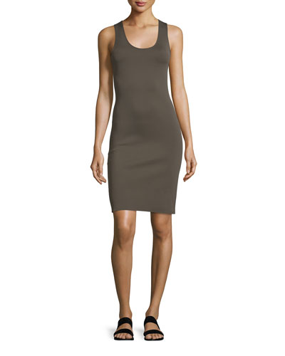 Neoprene Racerback Sheath Dress, Black