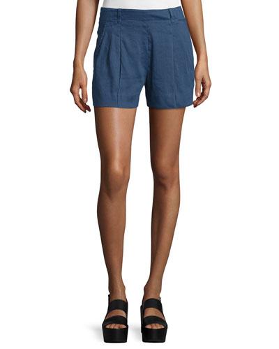 Solid Linen-Blend Shorts