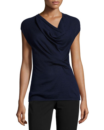 Cap-Sleeve Draped-Front Sweater, Navy