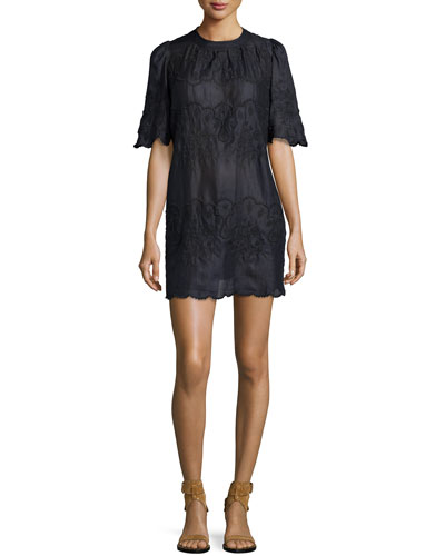 Embroidered Short-Sleeve Voile Dress