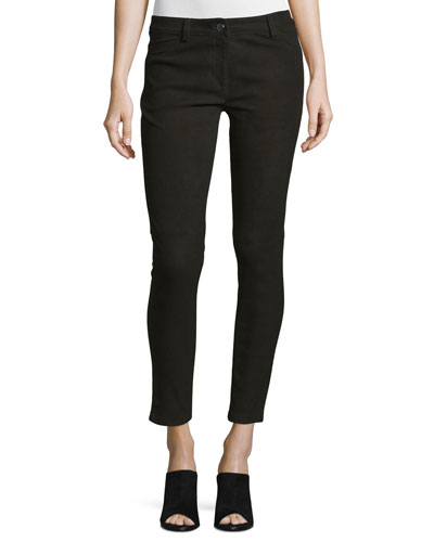 Five-Pocket Skinny-Leg Leather Jeans, Slate