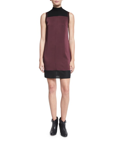 Vivienne Chiffon Colorblock Shift Dress, Port
