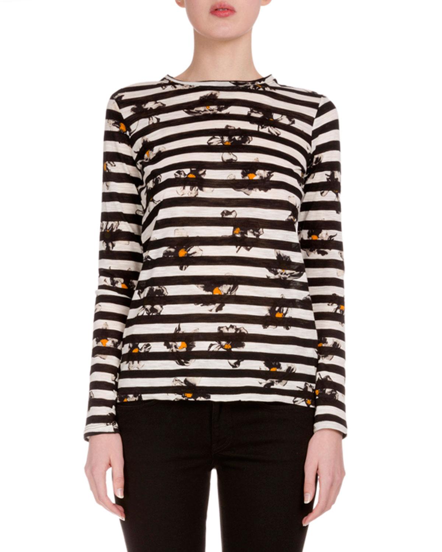 Long-Sleeve Falling-Flower Striped T-Shirt