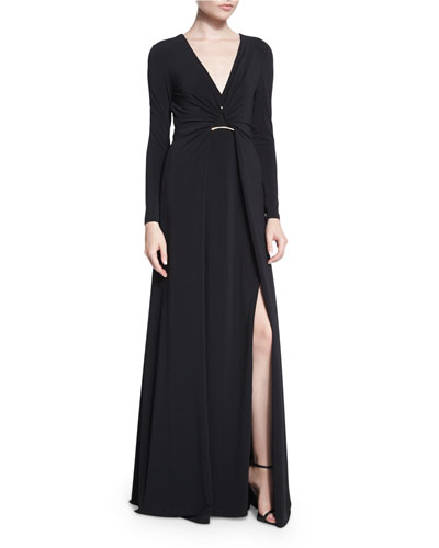 Long-Sleeve Twisted-Front Jersey Gown