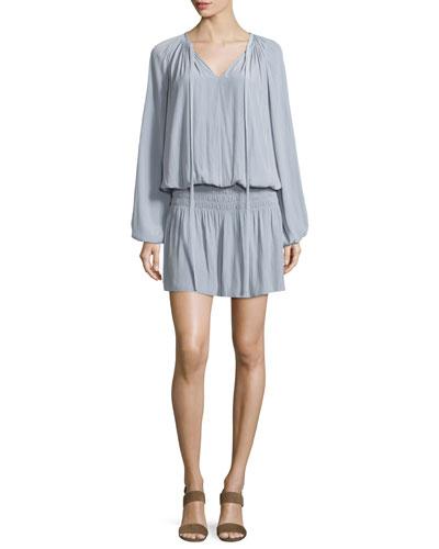 Paris Bishop-Sleeve Split-Neck Mini Dress