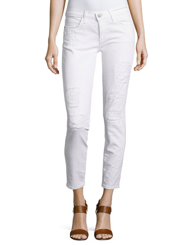 Stiletto Distressed Skinny Pants, White