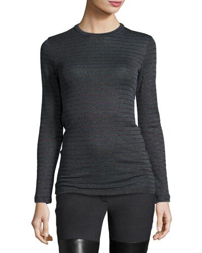 Long-Sleeve Metallic-Striped Sweater, Charcoal