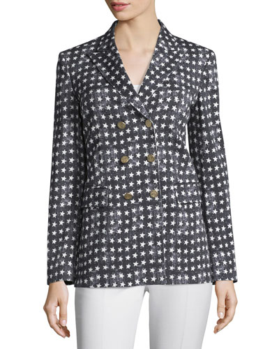 Stretch-Woven Star-Print Jacket, Black