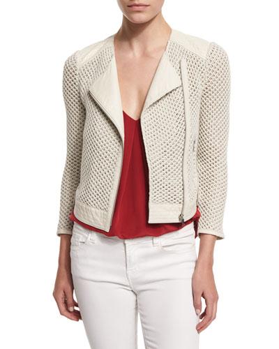 Jaelle Crocheted-Knit Asymmetric Jacket
