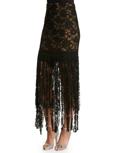 Romina Lace Tassel Skirt, Black