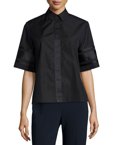 Dieter Poplin Short-Sleeve Collared Top, Black