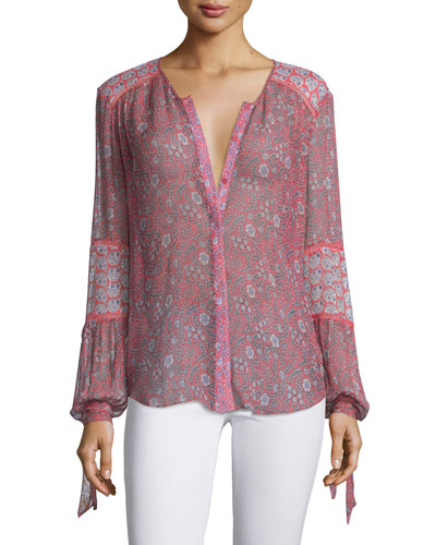 Amanda Long-Sleeve Floral Cotton-Blend Top, Tangerine Pink