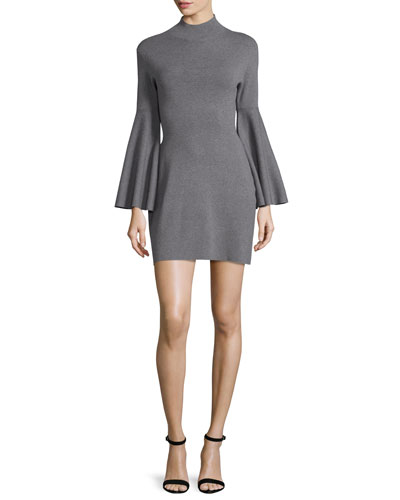 Swing-Sleeve Mock-Neck Sheath Dress, Gray